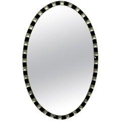 Irish Mirror with Rock Crystal and Black Glass Studded Border