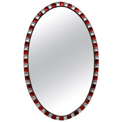 Irish Mirror with Rock Crystal and Ruby Glass Studded Border