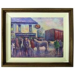 Irish Oil on Canvas of Ballagh Horse Fair by Seamus Coleman