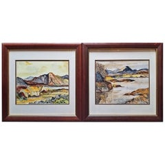 Irish Pair of Large Watercolors by Noel Hume, 2006, the Style of Paul Henry