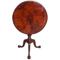 Irish Plum Pudding Mahogany Tilt-Top Acanthus Tea Table with Birdcage Circa 1770