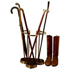 Irish Shamrock Cast Iron and Brass Walking Stick Stand or Umbrella Stand
