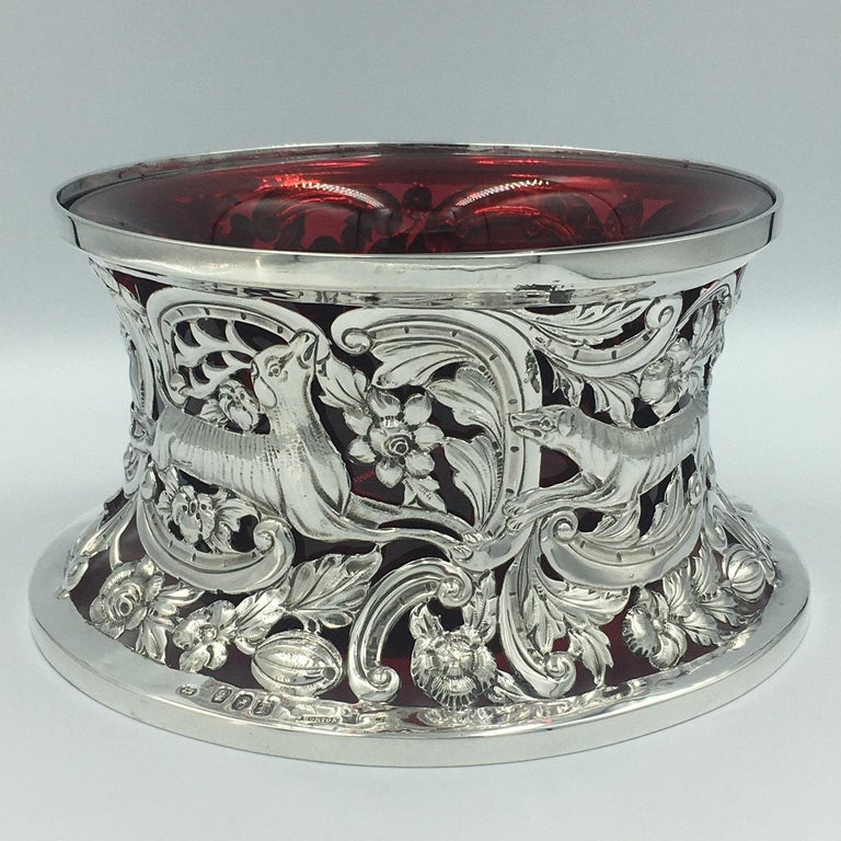 Irish silver dish ring with red liner. John Smith Dublin 1906. Measures: Height 11cm, diameter 20.5cm.