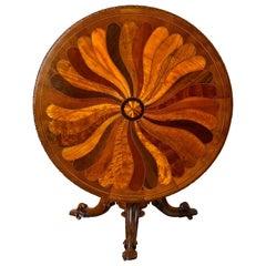 Irish Specimen Round Tilt-Top Table in The British Ceylon Style, 19th Century