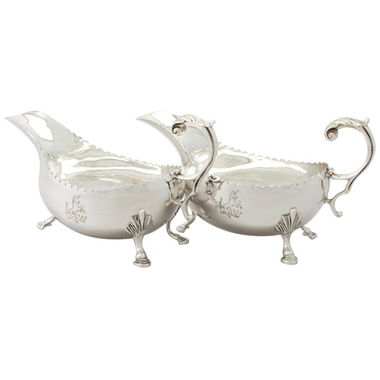 Irish Sterling Silver Sauceboats Boats For Sale