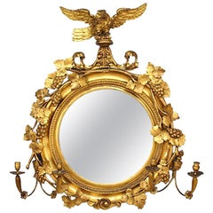 Irish Victorian Gilt-Wood Convex Girandole Mirror