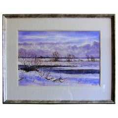 Irish Watercolor by Rev JH Flack of Winter Scene