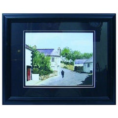 Irish Watercolor of Village Scene by M MacLoughlin