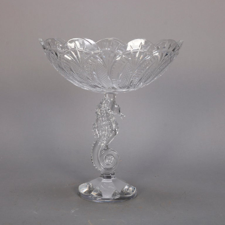 An Irish Waterford cut crystal figural compote offers cabbage leaf oval bowl surmounting seahorse column raised on faceted base, signed on base as photographed, 20th century  DELIVERY NOTICE – Due to COVID-19 we are employing NO-CONTACT PRACTICES in