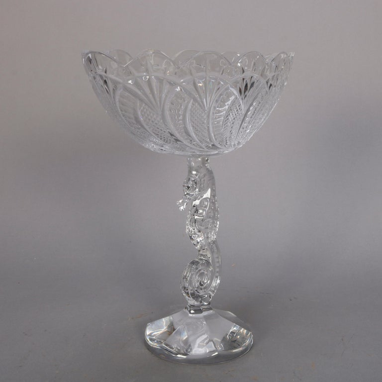 Northern Irish Irish Waterford Cut Crystal Figural Seahorse Compote, 20th Century For Sale