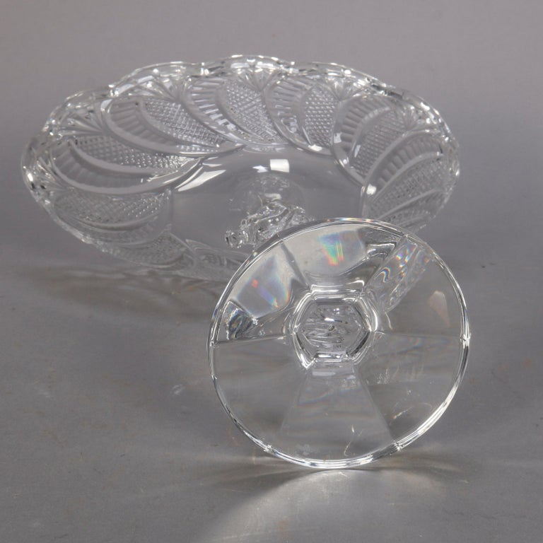 Irish Waterford Cut Crystal Figural Seahorse Compote, 20th Century In Good Condition For Sale In Big Flats, NY