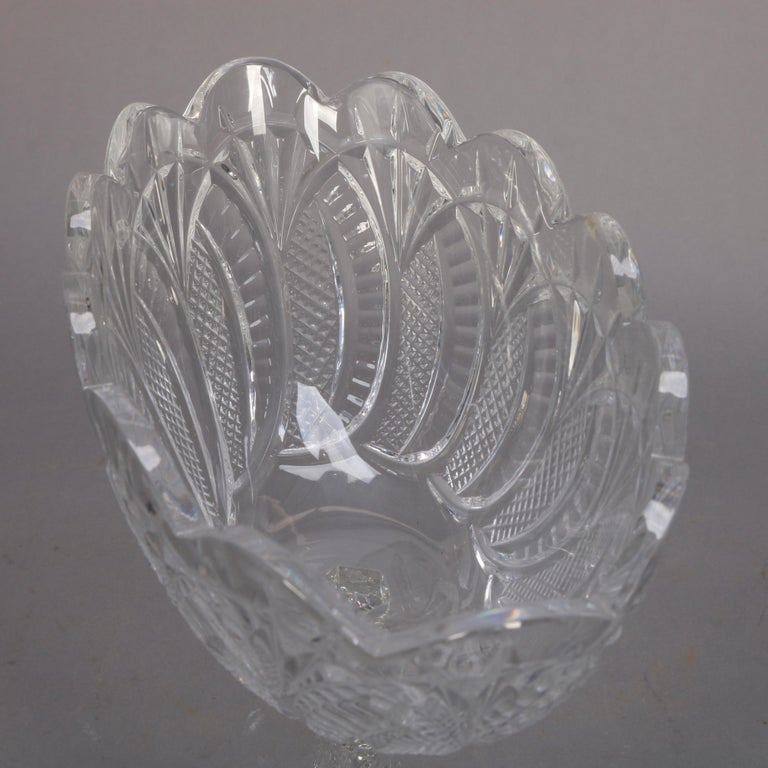 Irish Waterford Cut Crystal Figural Seahorse Compote, 20th Century For Sale 1