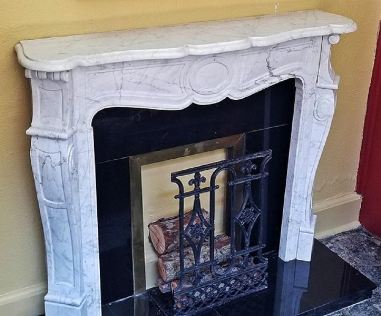 Irish White Marble Complete Fireplace For Sale 3