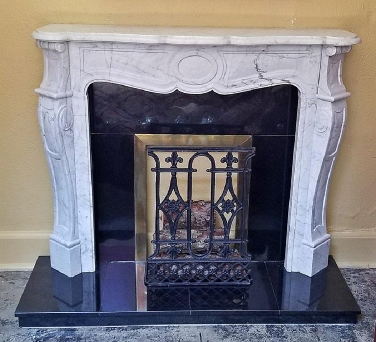 Irish White Marble Complete Fireplace For Sale 4