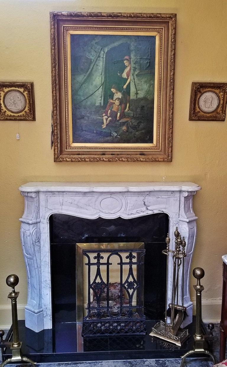 Cast Irish White Marble Complete Fireplace For Sale