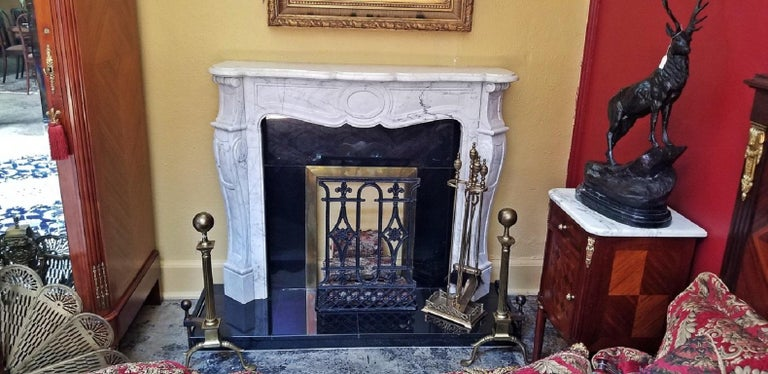 20th Century Irish White Marble Complete Fireplace For Sale