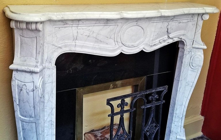 Carrara Marble Irish White Marble Complete Fireplace For Sale