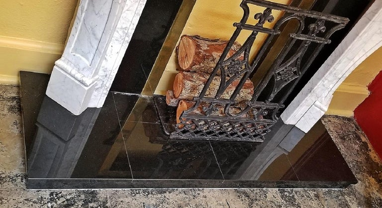 Irish White Marble Complete Fireplace For Sale 1