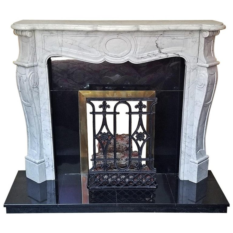 Irish White Marble Complete Fireplace For Sale