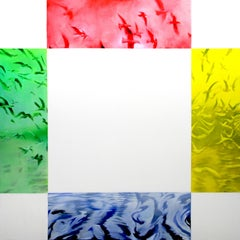 Pieces of colored glass and white., Painting, Oil on Canvas