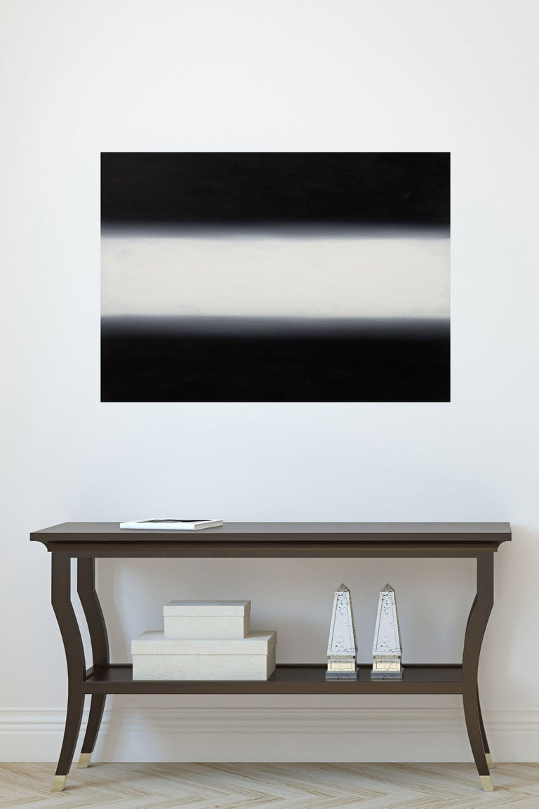 White light on black 50 x 70 cm., Painting, Oil on Canvas - Black Abstract Painting by Irjan Moussin