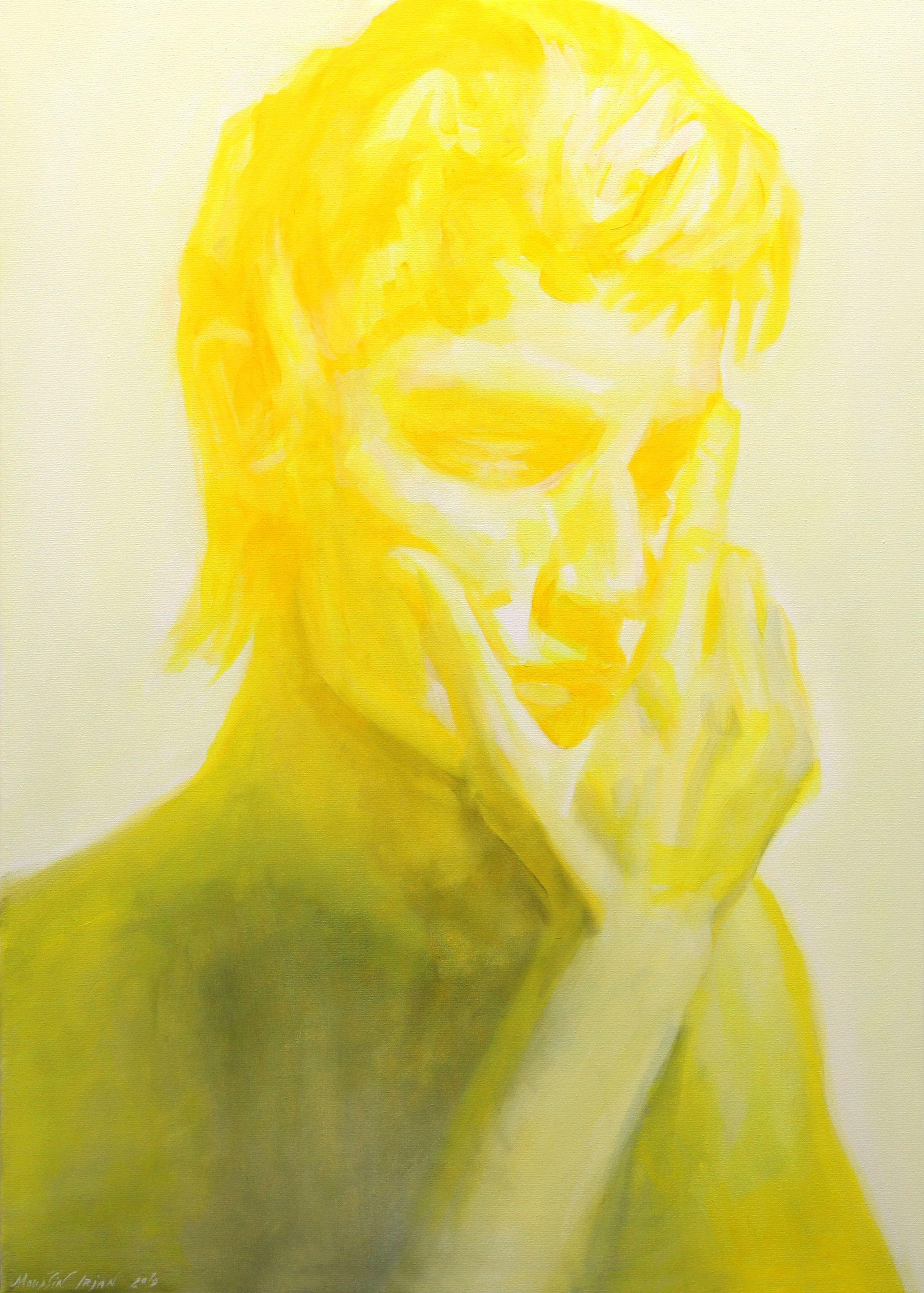 Yellow white and black mood, Painting, Oil on Canvas
