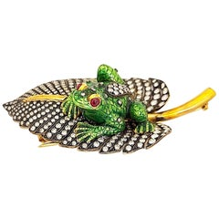 Irlan 18 Karat Gold and Enamel Frog on a 5.65 Carat Diamond Lily Pad Brooch