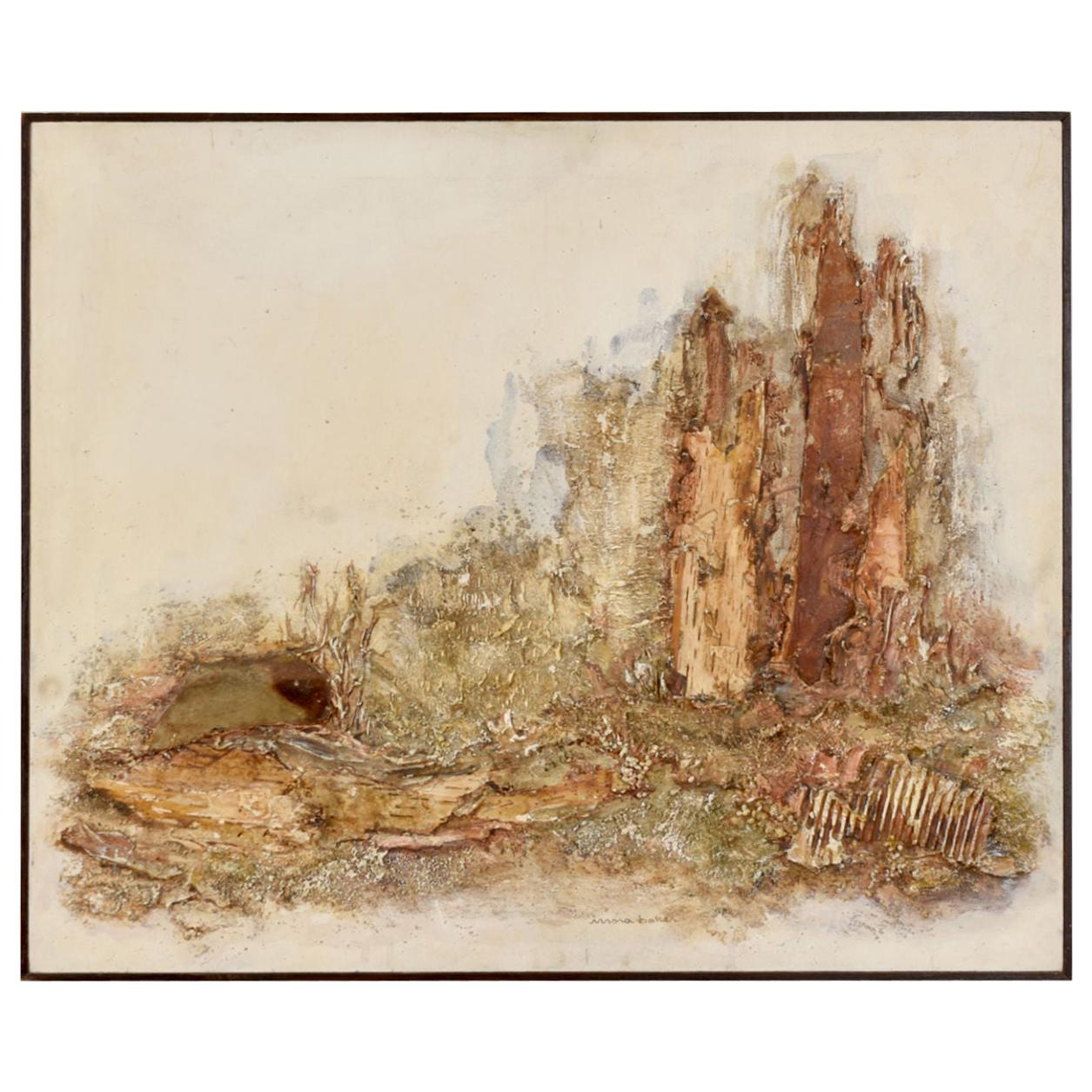 Irma Baker Mixed-Media Earthen Painting with Burlap and Bark