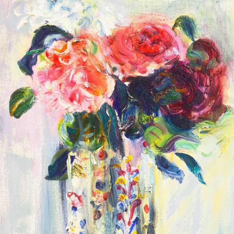 'Roses in a Millefiori Vase', Salon d'Automne, Paris, San Francisco Museum, SFAA - Post-Impressionist Painting by Irma Engel Grabhorn