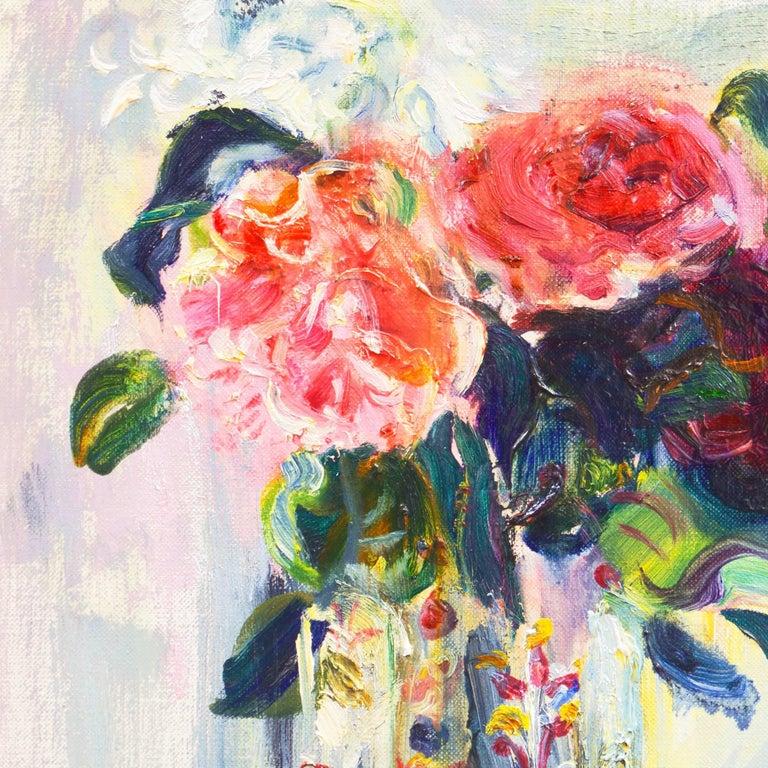 'Roses in a Millefiori Vase', Salon d'Automne, Paris, San Francisco Museum, SFAA - Beige Still-Life Painting by Irma Engel Grabhorn