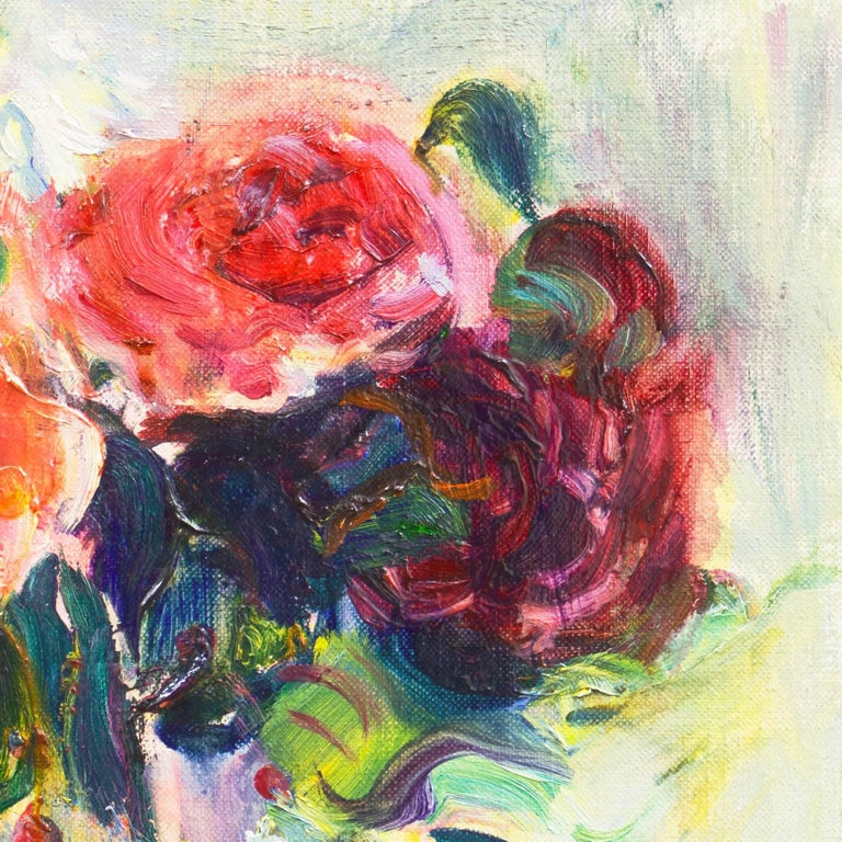 Signed lower right 'Grabhorn' for Irma Engel Leisinger Grabhorn (American, 1908-2003) and dated 1958.  A bright, Post-Impressionist oil still-life of pink and red roses, shown informally arranged in a millefiori glass vase and contrasted against a