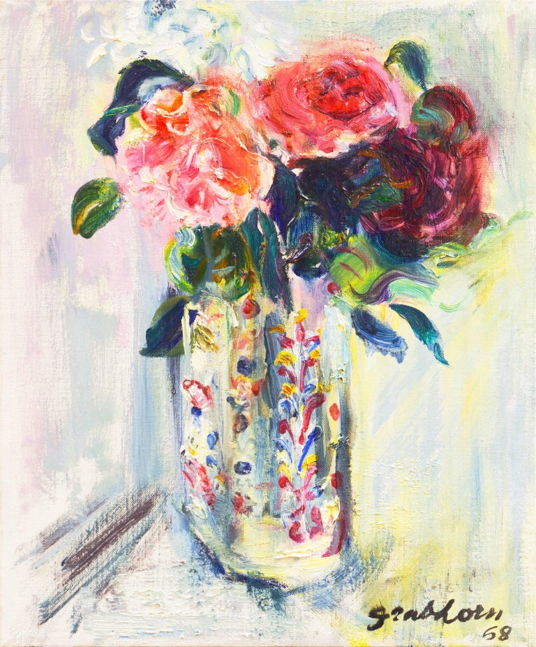 Irma Engel Grabhorn Still-Life Painting - 'Roses in a Millefiori Vase', Salon d'Automne, Paris, San Francisco Museum, SFAA