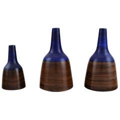 Irma Yourstone, Sweden, Three Unique Vases in Glazed Ceramics, 1960s