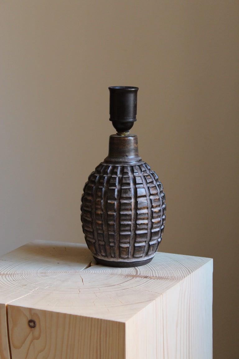 Mid-Century Modern Irma Youstone, Table Lamp, Grey-Glazed Stoneware, Artists Studio, Sweden, 1960s For Sale