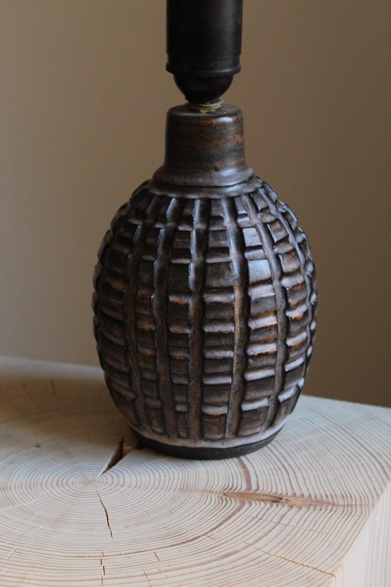 Swedish Irma Youstone, Table Lamp, Grey-Glazed Stoneware, Artists Studio, Sweden, 1960s For Sale