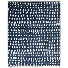 Irmgard, Bohemian Shaggy Moroccan Hand Knotted Area Rug, Navy