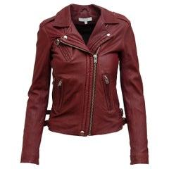 Iro  Burgundy Leather Moto Jacket