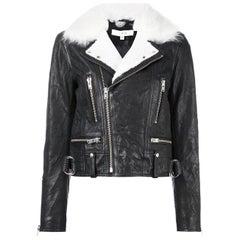 IRO Noemie Shearling Trimmed Textured Leather Biker Jacket