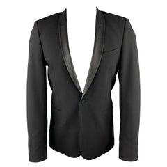 IRO Size 36 Black Wool Blend Shawl Collar Leather Trim Sport Coat