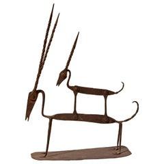 Iron African Style Gazelle Sculpture