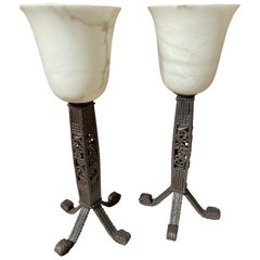 Iron and Alabaster Art Deco Table Lamps Pair