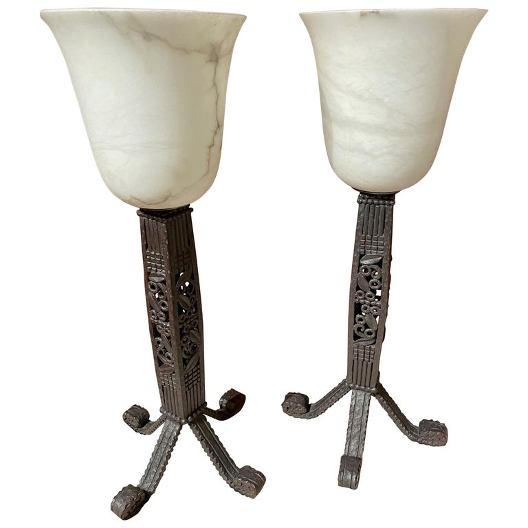 Iron and Alabaster Art Deco Table Lamps Pair For Sale