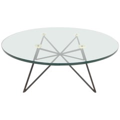 Iron and Brass Glass Top Coffee Table from Paris