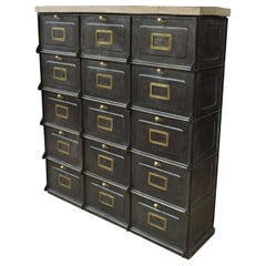 Iron and Brass Industrial Strafor Clapet Cabinet, circa 1920