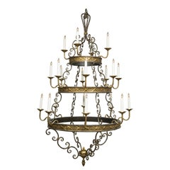 Iron and Brass Twenty-Light Hanging Chandelier