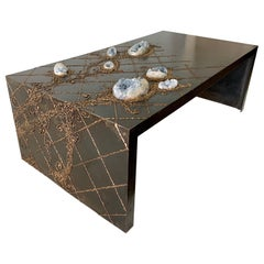 Iron and Bronze Floral Design Natural Celestite Studio Coffee Table
