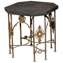 Iron and Bronze Table with Black Marble Top Attributed to Oscar Bach