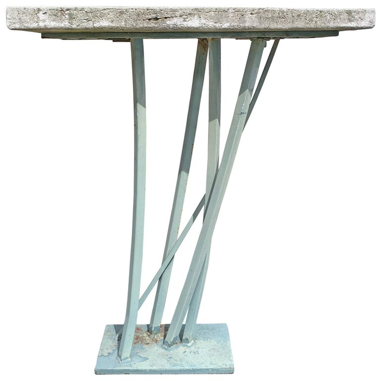 Iron And Cast Stone Console Table By Joseph Wesner At 1stdibs