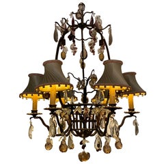 Iron and Crystal Fruit Chandelier