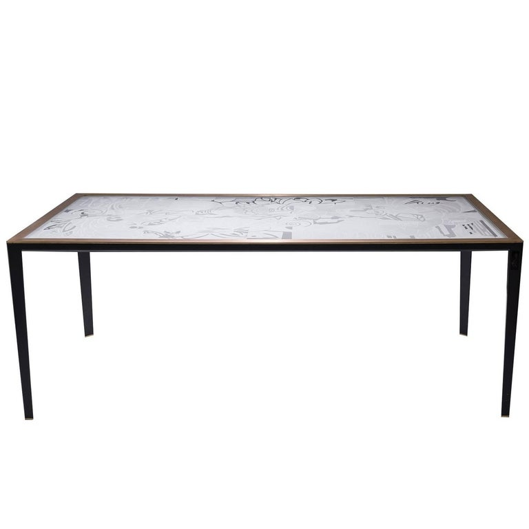 Iron and Glass Black Table